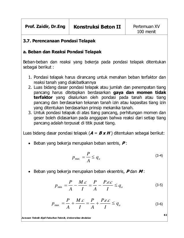 Prof. Zaidir, Dr.Eng Konstruksi Beton II Pertemuan XV 100 menit Jurusan Teknik Sipil Fakultas Teknik, Universitas Andalas ...