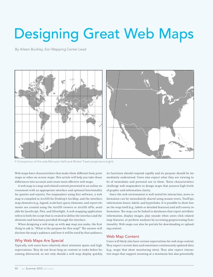 Designing Great Web MapsBy Aileen Buckley, Esri Mapping Center Lead Comparison of the web Mercator (left) and Winkel Trip...