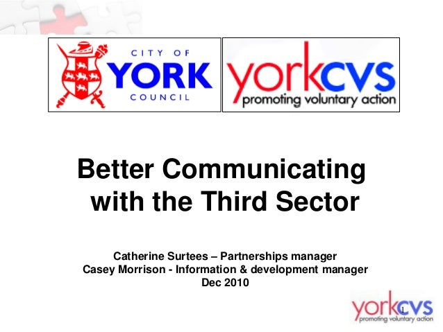 Better Communicating with the Third Sector     Catherine Surtees – Partnerships managerCasey Morrison - Information & deve...