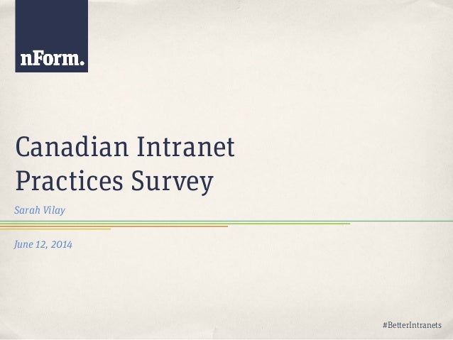 Better Intranets | Canadian Intranet Practices 2014