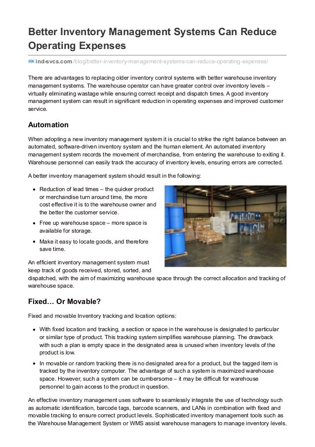 Better Inventory Management Systems Can Reduce Operating Expenses ind-svcs.com /blog/better-inventory-management-systems-c...