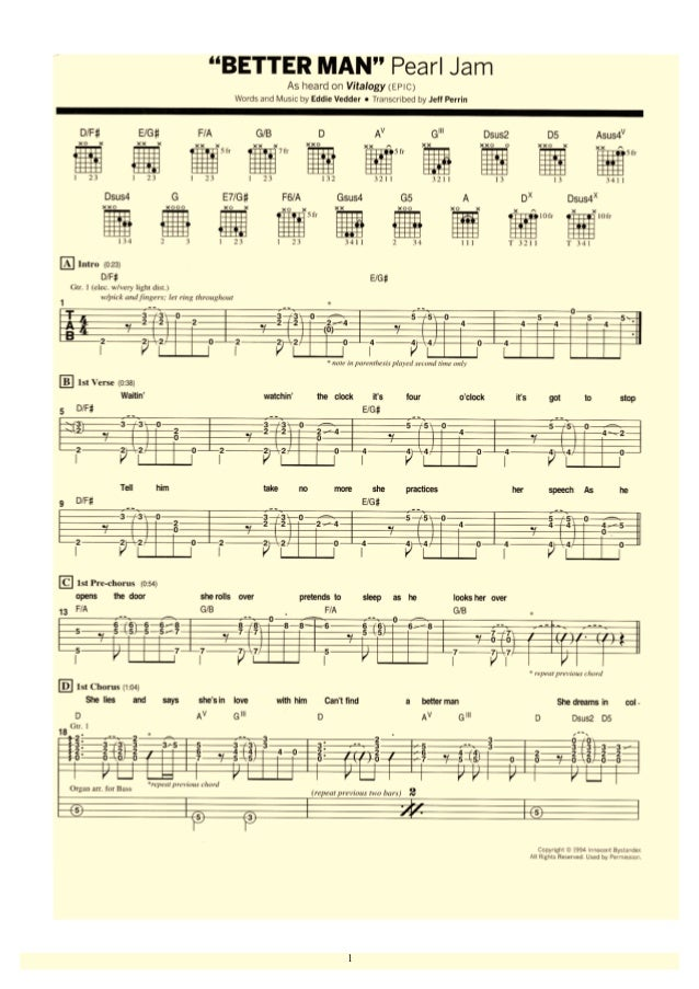 Awesome Pearl Jam Chords Gallery Song Chords Images Apa Montreal