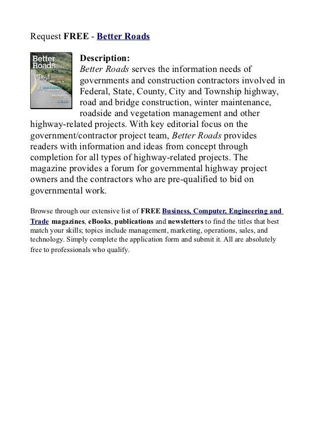 Better roads   request free!