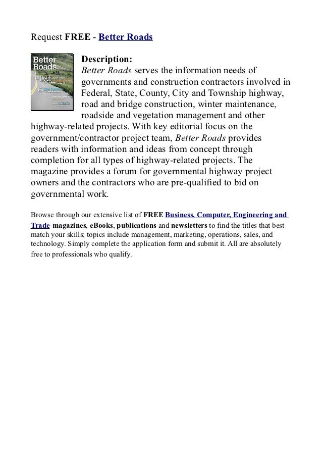 Better roads, randall reilly publishing company, construction contractors involved in federal, state, county, city and township highway, road and bridge constructi