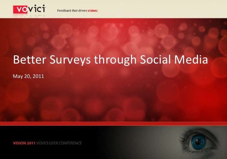 Better Surveys through Social MediaMay 20, 2011