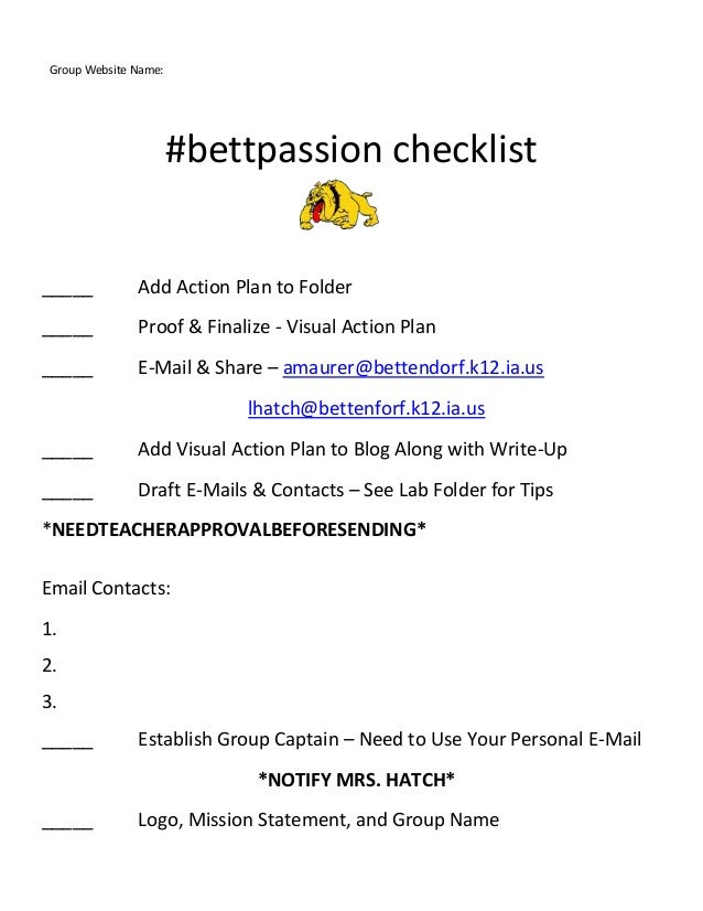 #bettpassion checklist _____ Add Action Plan to Folder _____ Proof & Finalize - Visual Action Plan _____ E-Mail & Share – ...