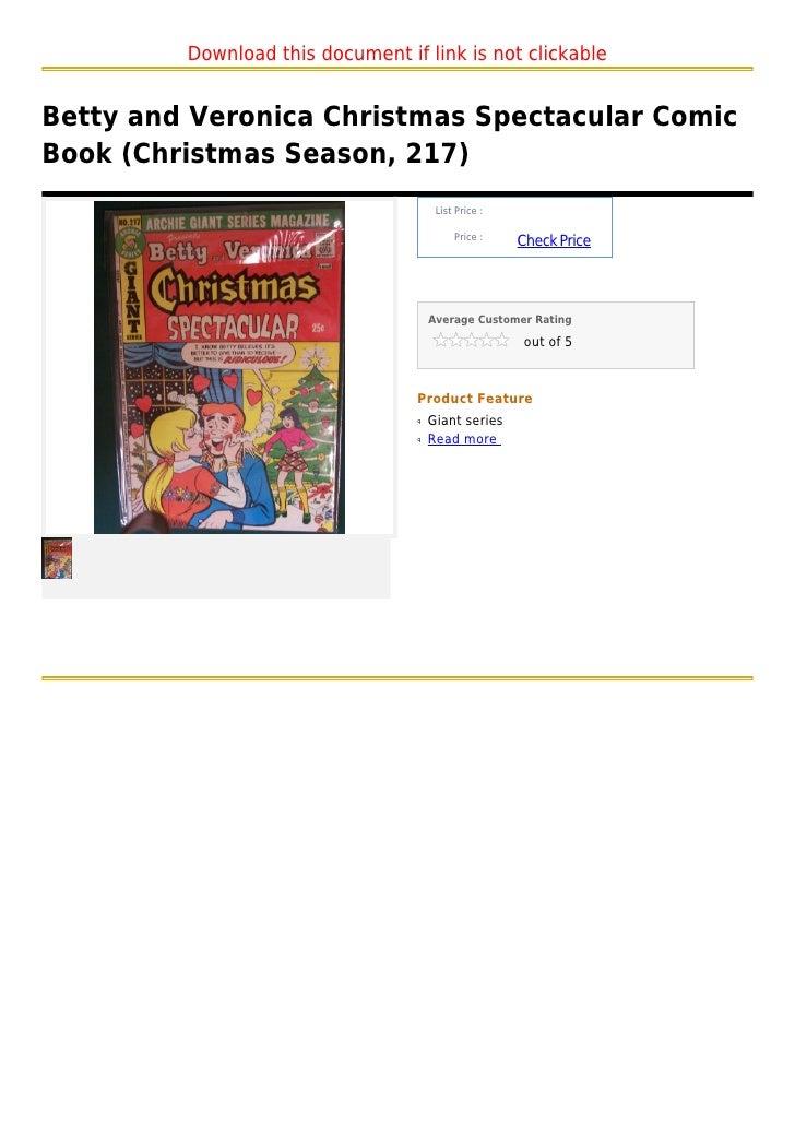 Betty and veronica christmas spectacular comic book (christmas season, 217)