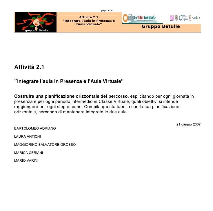 """page1 of 13                                   Attività 2.1                        """"Integrare l'aula in Presenza e         ..."""
