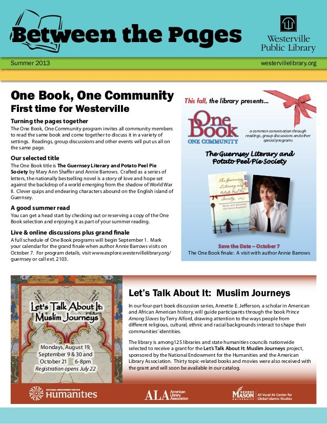 Summer 2013 westervillelibrary.org Between the Pages In our four-part book discussion series, Annette E. Jefferson, a scho...