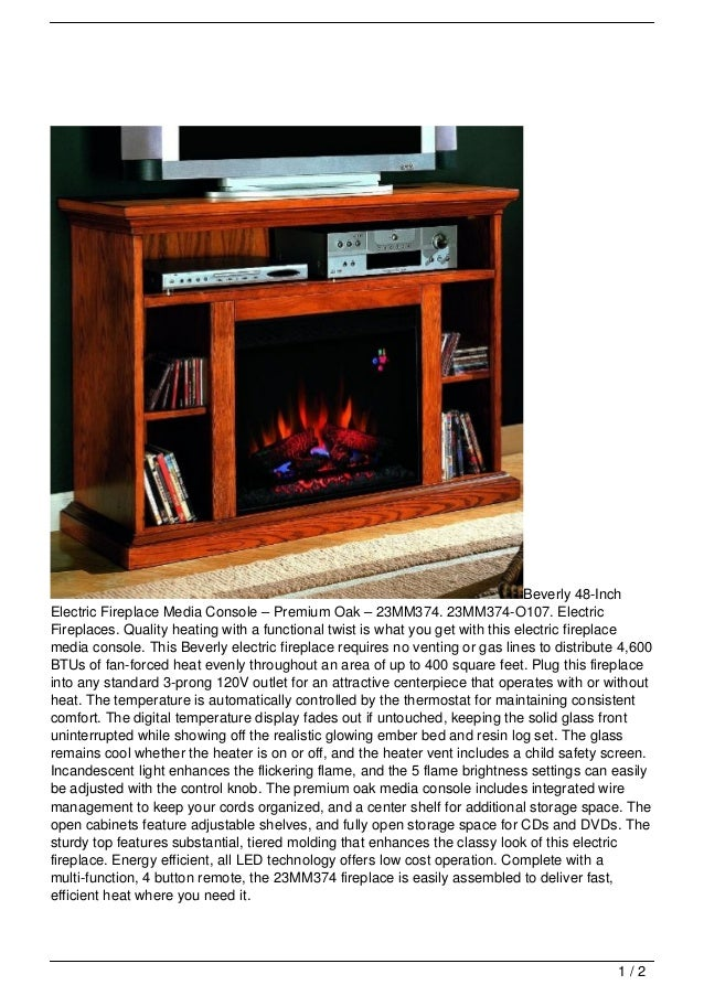 Beverly 48-InchElectric Fireplace Media Console – Premium Oak – 23MM374. 23MM374-O107. ElectricFireplaces. Quality heating...