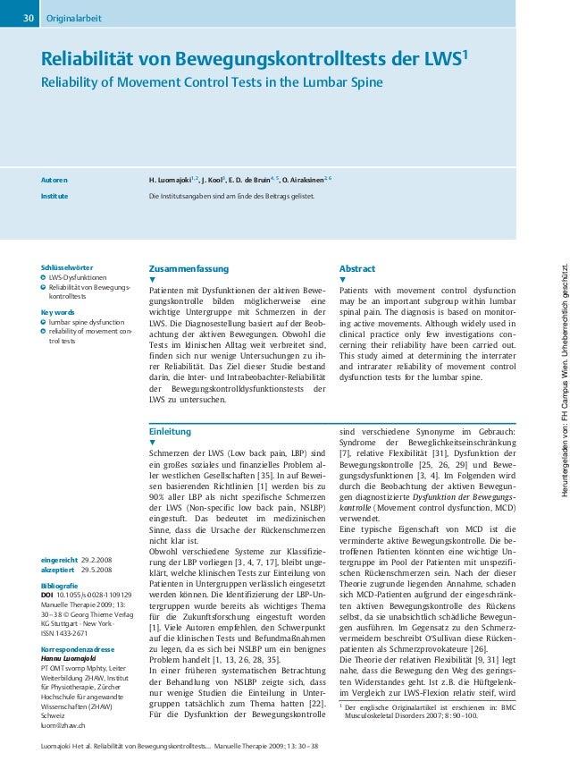 Reliabilität von Bewegungskontrolltests der LWS1 Reliability of Movement Control Tests in the Lumbar Spine Autoren H. Luom...