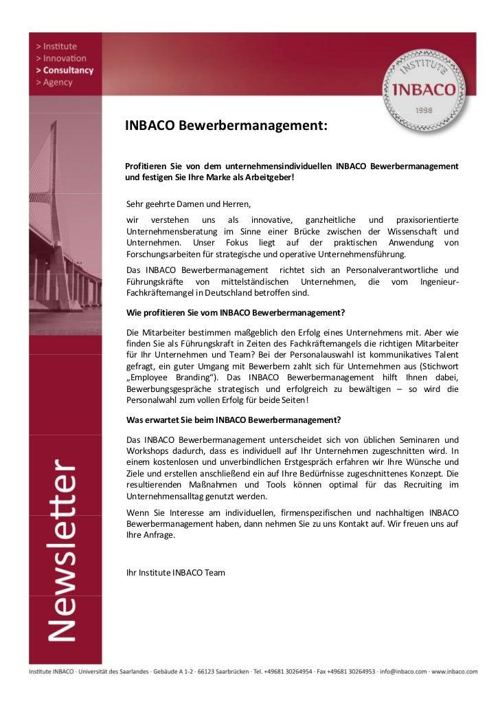 INBACO Bewerbermanagement:Profitieren Sie von dem unternehmensindividuellen INBACO Bewerbermanagementund festigen Sie Ihre...
