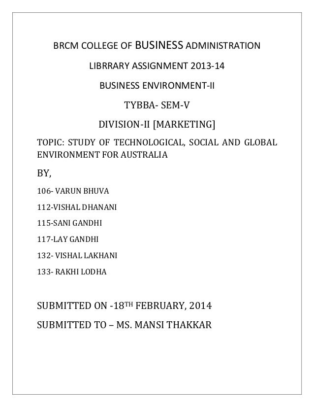 BRCM COLLEGE OF BUSINESS ADMINISTRATION LIBRRARY ASSIGNMENT 2013-14 BUSINESS ENVIRONMENT-II TYBBA- SEM-V DIVISION-II [MARK...