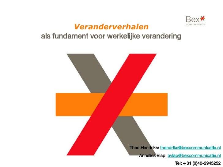 Veranderverhalen als fundament voor werkelijke verandering                              Theo Hendriks: thendriks@bexcommun...