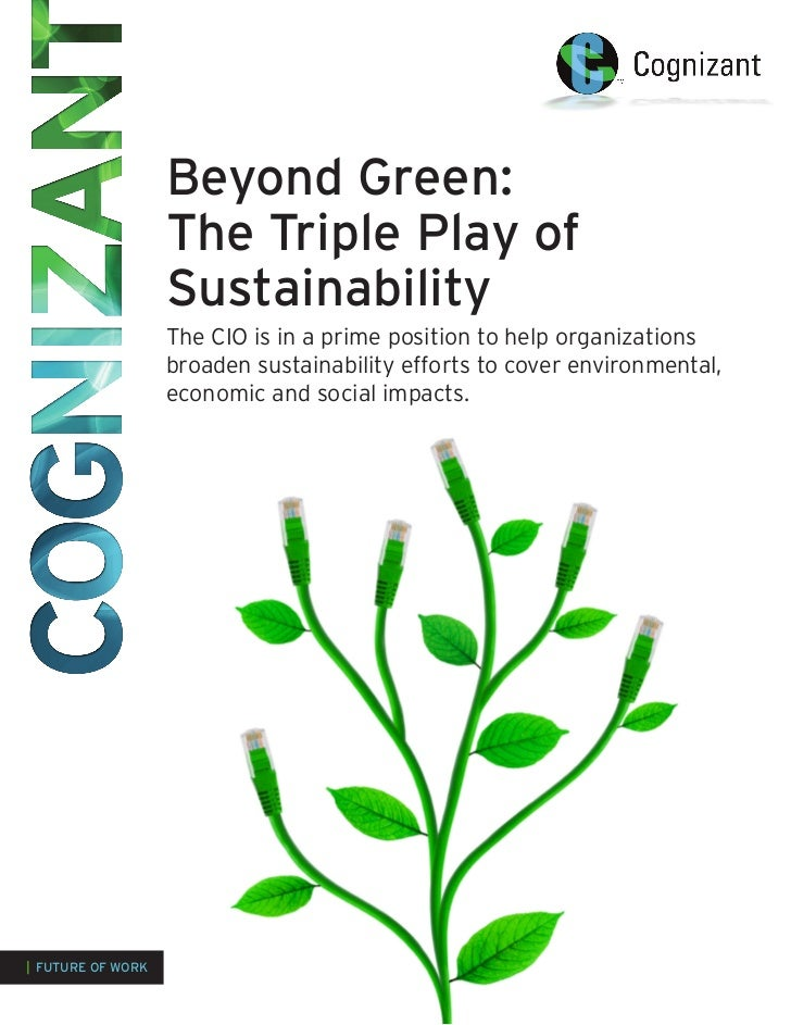 Beyond Green:                       The Triple Play of                       Sustainability                       The CIO ...