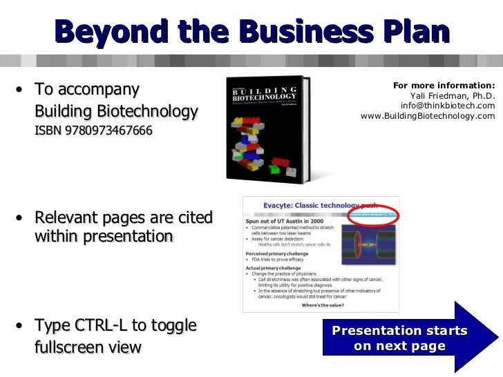 Beyond the Business Plan - Managing unexpected risks in biotechnology business development