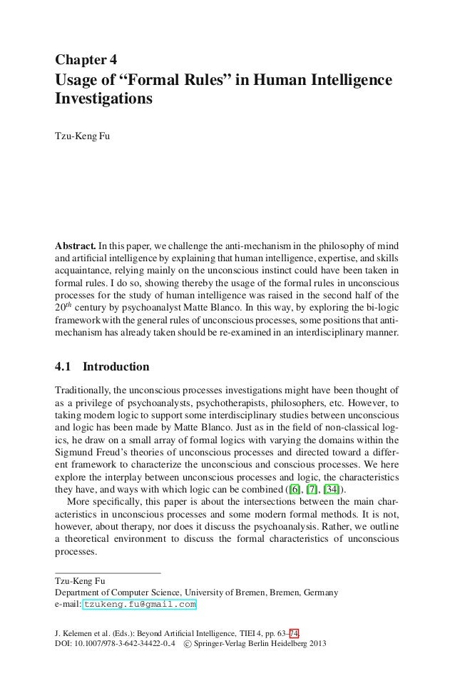 """Chapter 4Usage of """"Formal Rules"""" in Human IntelligenceInvestigationsTzu-Keng FuAbstract. In this paper, we challenge the a..."""