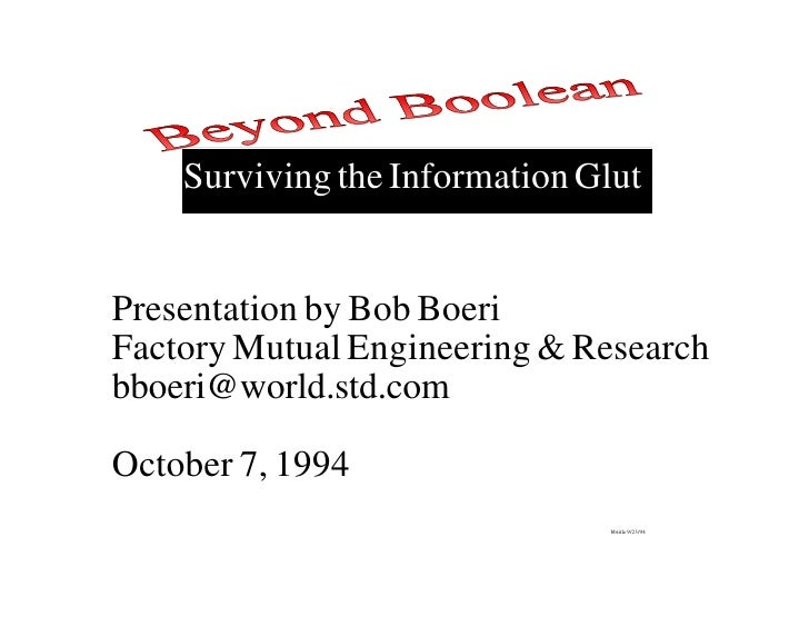 Beyond Boolean - Enterprise Search Technologies