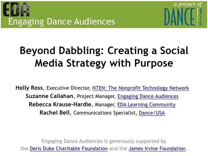 Beyond Dabbling: Creating a Social Media Strategy with Purpose Holly Ross, Executive Director, NTEN: The Nonprofit Technol...