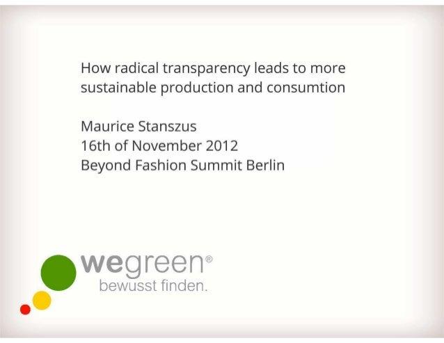 WeGreen Präsentation auf der Beyond Fashion Summit 2012 Berlin