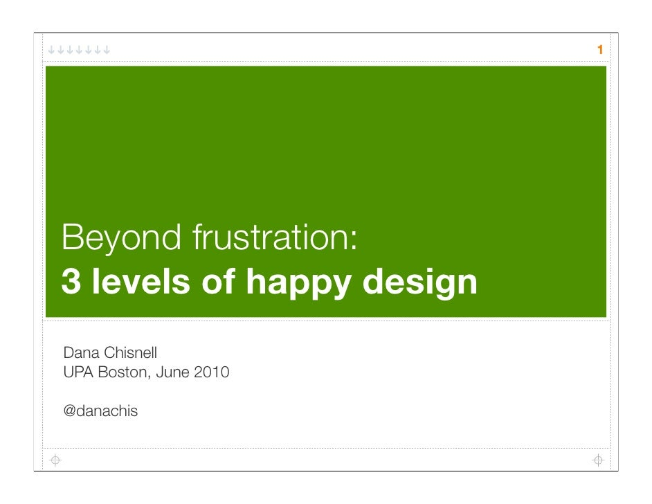 1     Beyond frustration: 3 levels of happy design Dana Chisnell UPA Boston, June 2010  @danachis