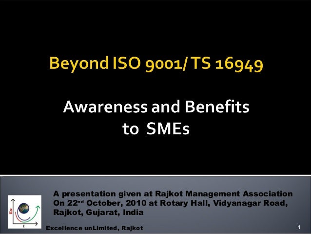 Beyond ISO 9001 : Benefits to SMEs