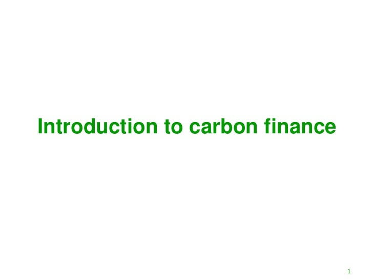 Introduction to carbon finance                                 1
