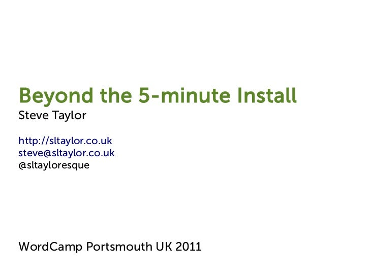 Beyond the WordPress 5 minute Install