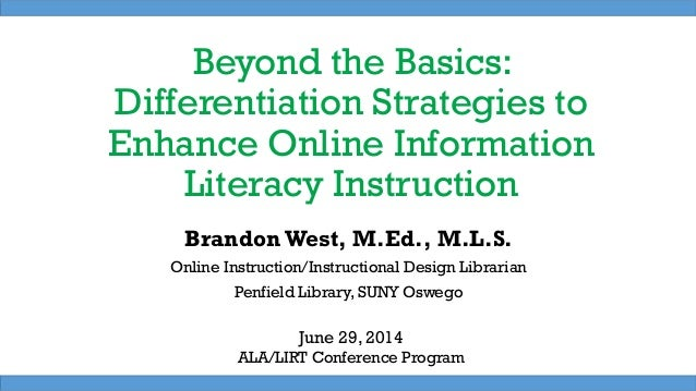 Beyond the Basics: Differentiation Strategies for Online Information Literacy Instruction