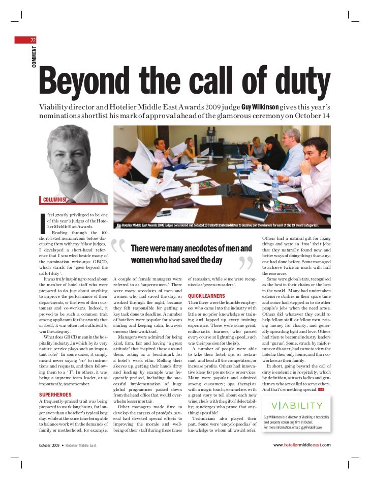 22COMMENT      Beyond the call of duty          Viability director and Hotelier Middle East Awards 2009 judge Guy Wilkinso...