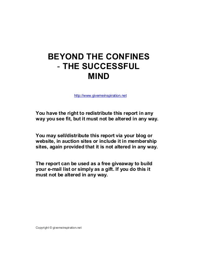 'Beyond the confines' - The Successful Mind