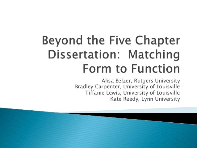 5 chapters in a dissertation For thesis/dissertation proposal hearing, the format is as follows: chapter 1 chapter 5 vita, publications, appendices, multi partand have positive relationships with their dissertation committee, are able to deal with the pressures of graduate school.