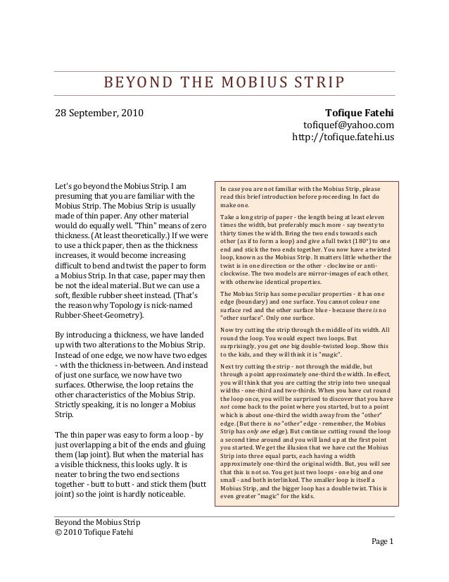 Beyond the Mobius Strip © 2010 Tofique Fatehi Page 1 BEYOND THE MOBIUS STRIP 28 September, 2010 Tofique Fatehi tofiquef@ya...
