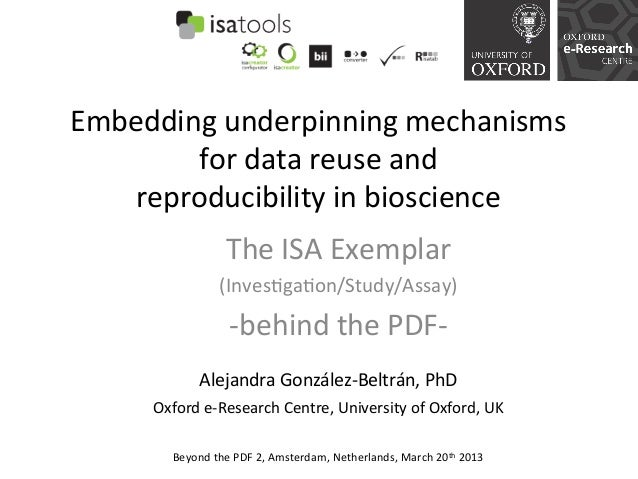 Embedding	  underpinning	  mechanisms	          for	  data	  reuse	  and	  	      reproducibility	  in	  bioscience	      ...