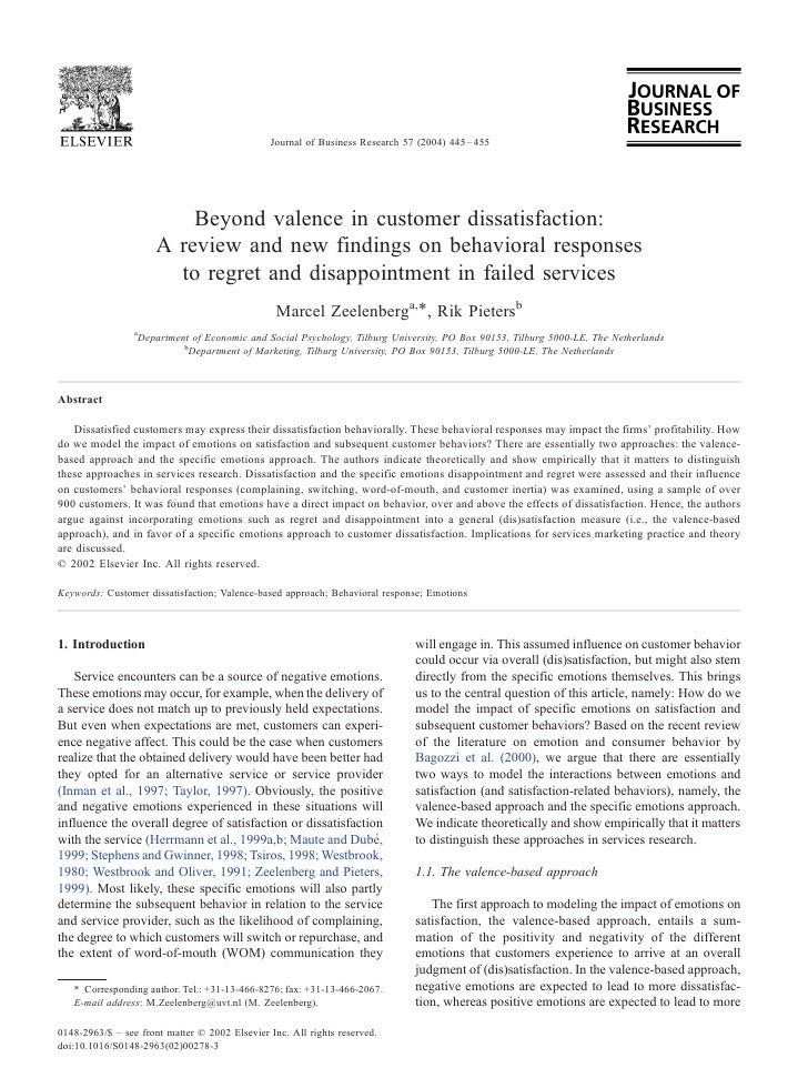 Beyond Valence In Customer Dissatisfaction A Review And New Findings On Behavioral Responses To R