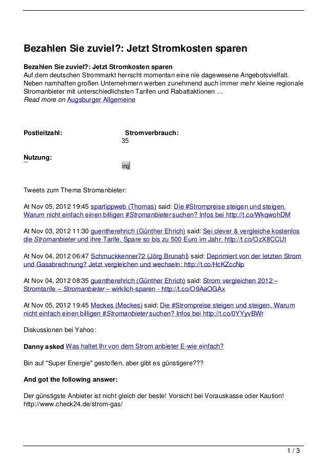 Bezahlen Sie zuviel?: Jetzt Stromkosten sparenBezahlen Sie zuviel?: Jetzt Stromkosten sparenAuf dem deutschen Strommarkt h...