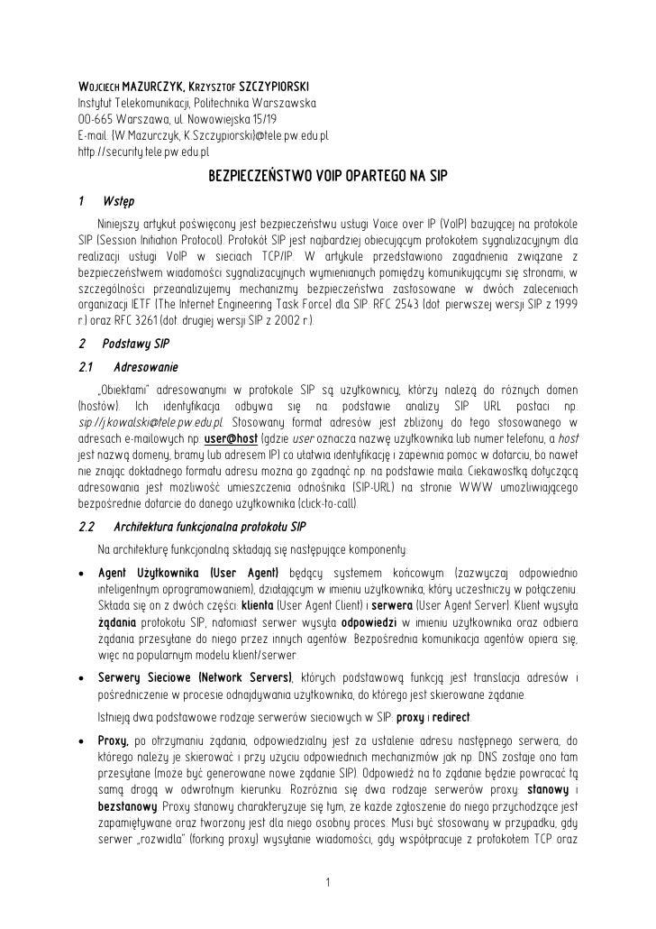 WOJCIECH MAZURCZYK, KRZYSZTOF SZCZYPIORSKI Instytut Telekomunikacji, Politechnika Warszawska 00-665 Warszawa, ul. Nowowiej...