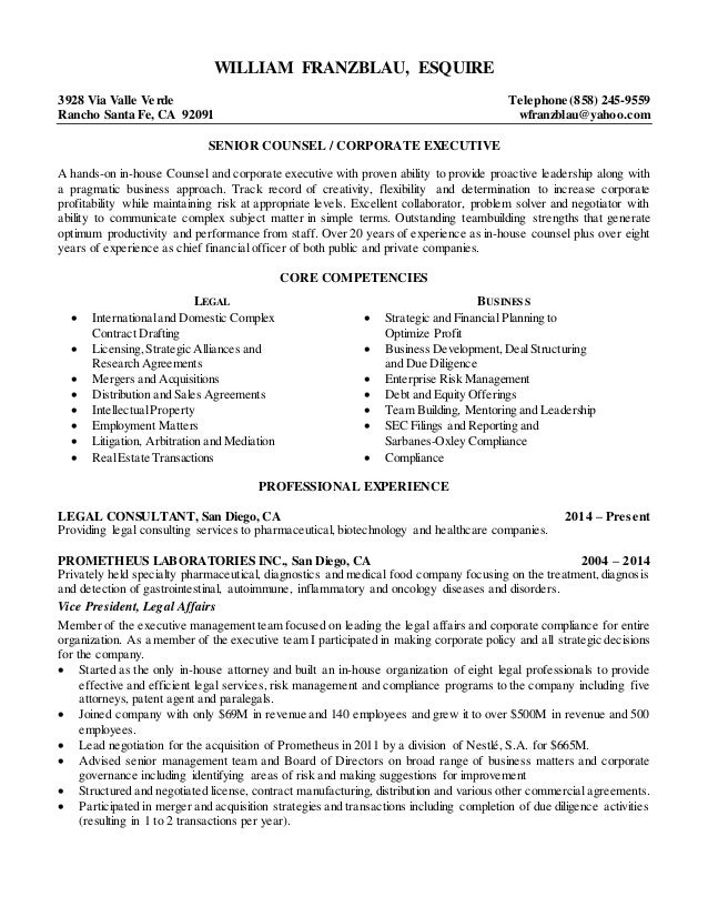 william franzblau esquire senior counsel resume 2015