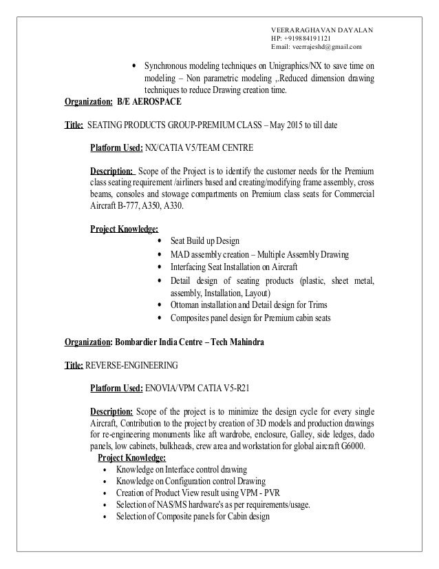 Composite design engineer sample resume