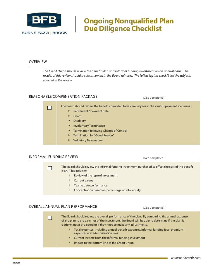 Ongoing Nonqualified Plan                                               Due Diligence Checklist          OVERVIEW         ...