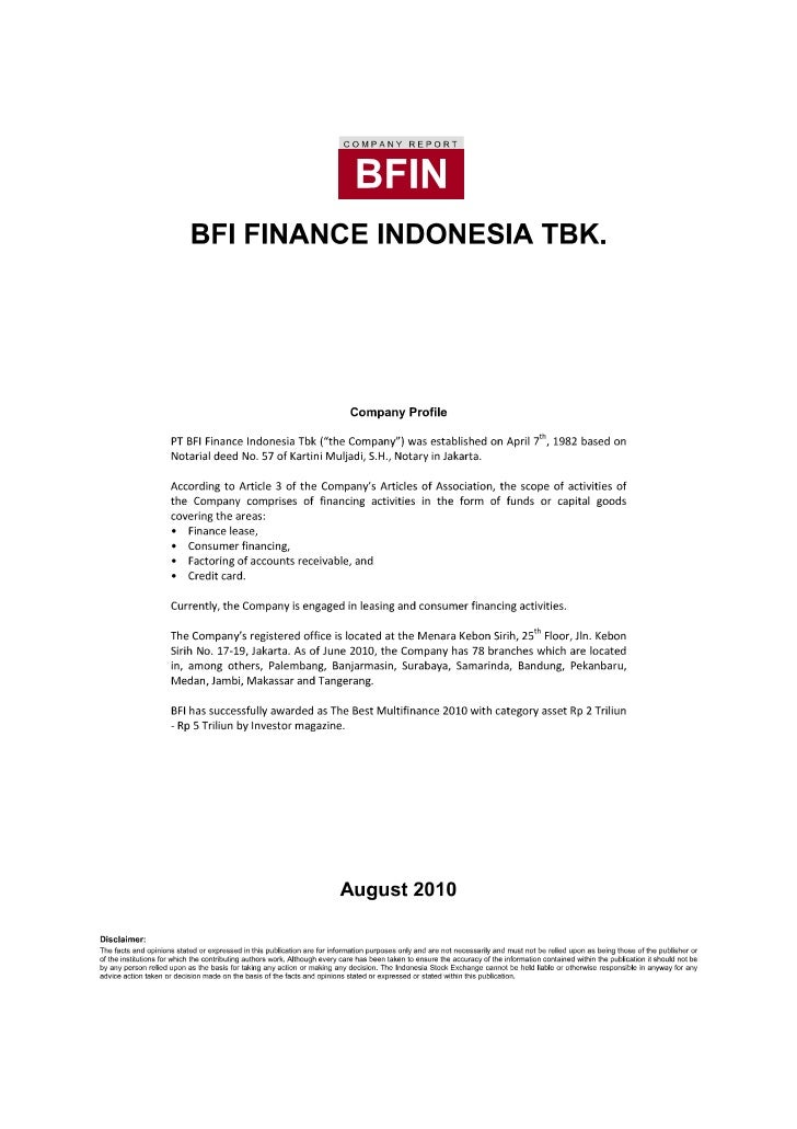 PROFIL BFI FINANCE INDONESIA,TBK