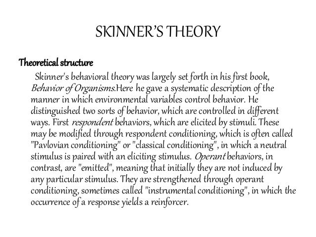 skinner believed in behavioristic theories A summary of behaviorist theories in 's personality learn exactly what happened in this chapter skinner believed that the environment determines behavior.