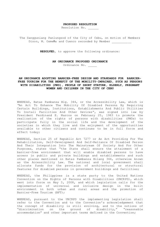 PROPOSED RESOLUTION Resolution No. ______ The Sangguniang Panlungsod of the City of Cebu, on motion of Members Dizon, M. O...