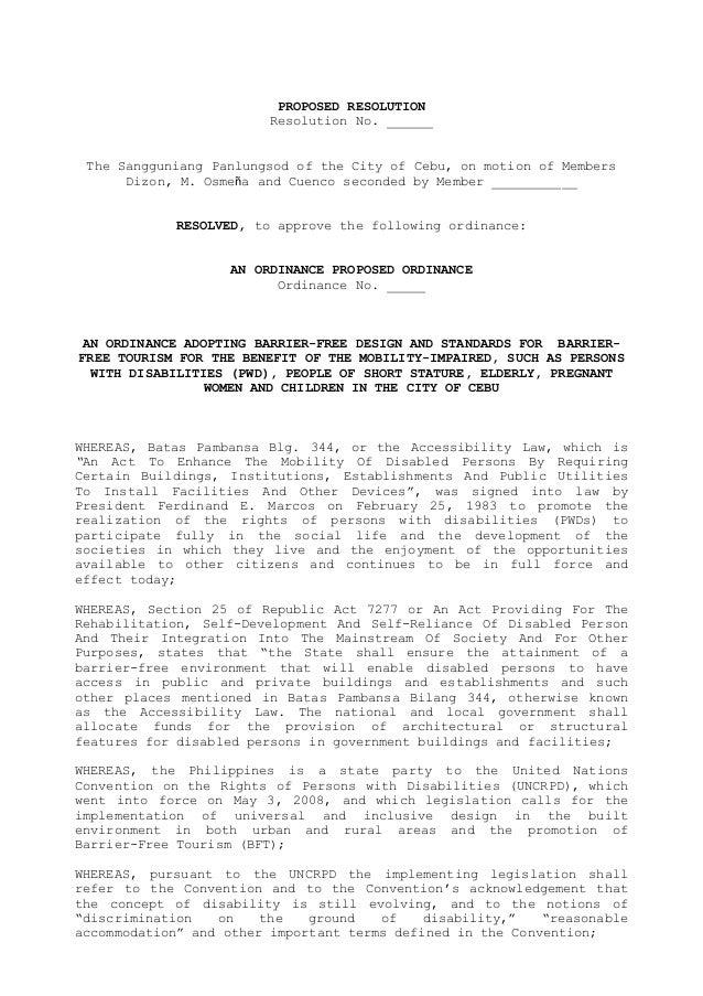 Cebu City Barrier-Free Tourism Resolution May 2014