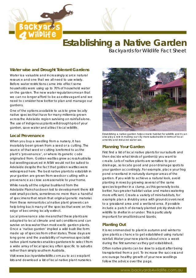 Establishing A Native Garden - Backyard for Wildlife Fact Sheet