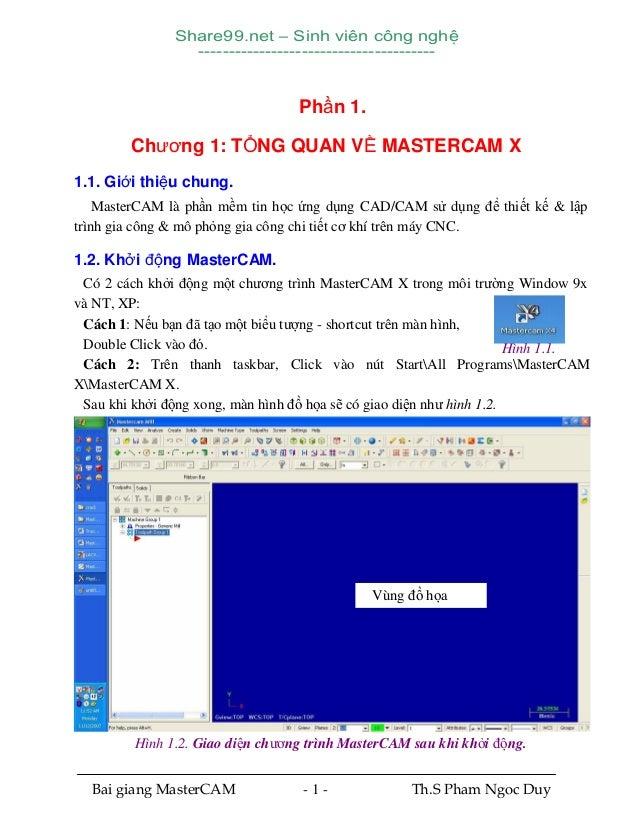Share99.net – Sinh viên công nghệ ---------------------------------------  Phần 1. Chương 1: TỔNG QUAN VỀ MASTERCAM X 1.1....