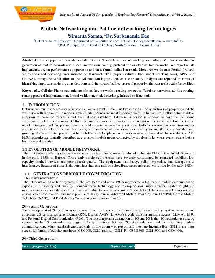 International Journal Of Computational Engineering Research (ijceronline.com) Vol. 2 Issue. 5             Mobile Networkin...
