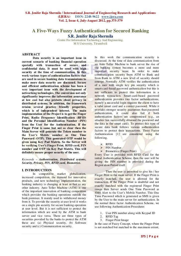 S.R. Jenifer Raja Shermila / International Journal of Engineering Research and Applications                         (IJERA...