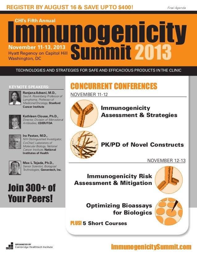 Organized by Cambridge Healthtech Institute ImmunogenicitySummit.com Final Agenda Immunogenicity CHI's Fifth Annual Summit...