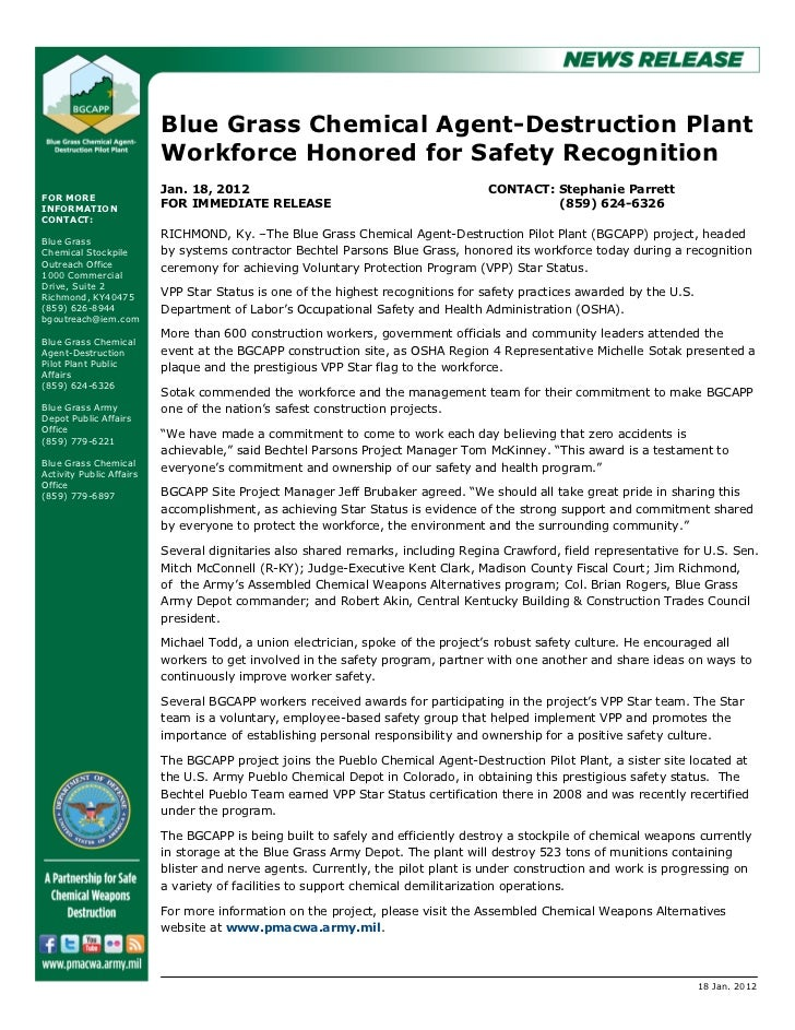 Blue Grass Chemical Agent-Destruction Plant                          Workforce Honored for Safety Recognition             ...